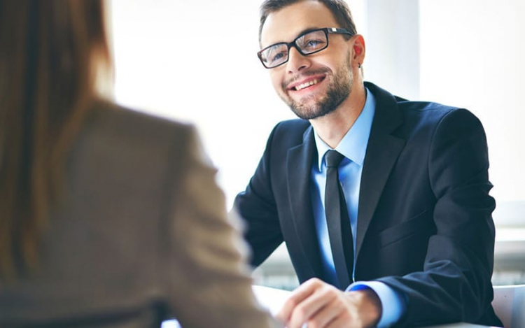 28331607 - image of young businessman interviewing female